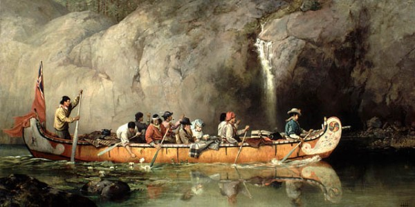 """Canoe manned by voyageurs passing a waterfall"" by Frances Anne Hopkins. Courtesy National Archives of Canada."