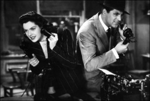 Rosalind Russell and Cary Grant in 'His Girl Friday'. Newsrooms still have a long way to go toward achieving gender equity.