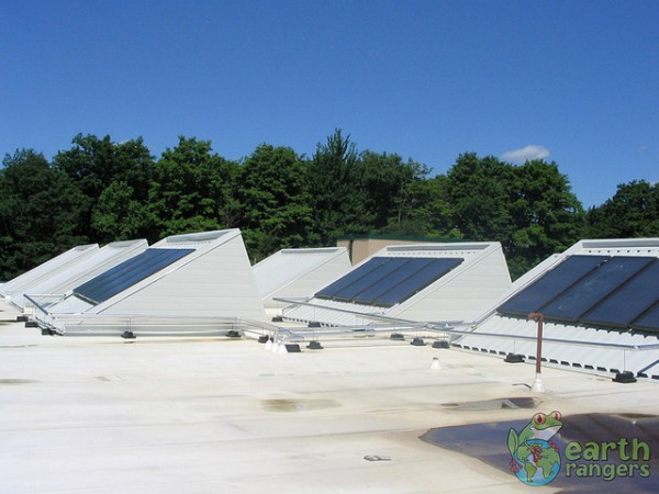 Rooftop solar panels provide about a third of the building's power.