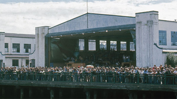 Exterior of one of the Habitat '76 hangars. Image courtesy Lindsay Brown.