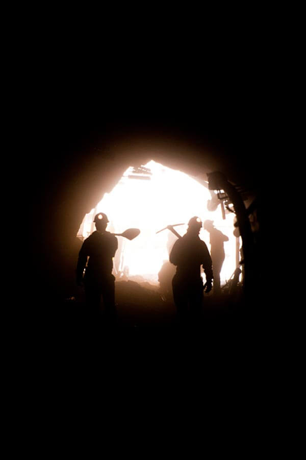 Miners working at the former La Luz mine owned by First Majestic Silver. Photo by José Luis Aranda.