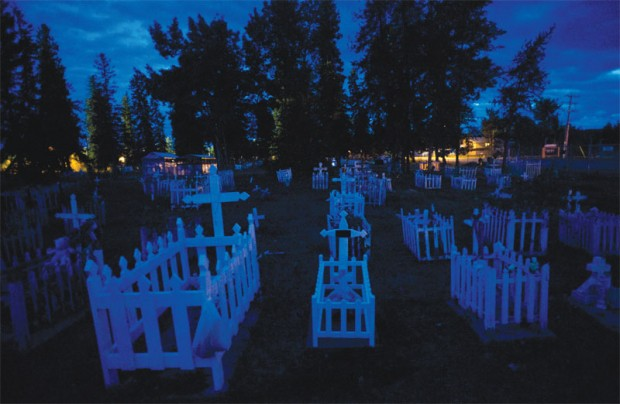 The cemetery in Fort Chipewyan. Hundreds of residents have died of unexplained cancers.