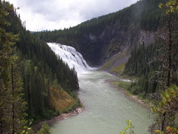 Kinuseo falls in Tumbler Ridge, B.C.