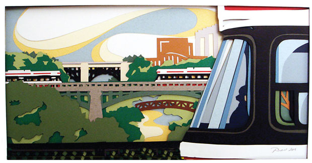 Papercraft scene of streetcars by Drew Nelson. Image courtesy the artist.