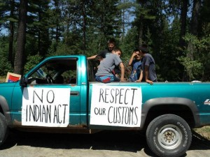 Protesters at Barriere Lake turned away election officers from the Indian Affairs Department in July. Photo courtesy Defenders of the Land.