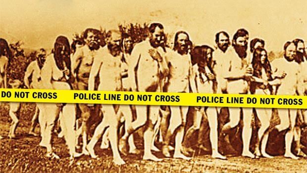 Doukhobors stage a mass nude protest in Langham, Saskatchewan, in 1903.