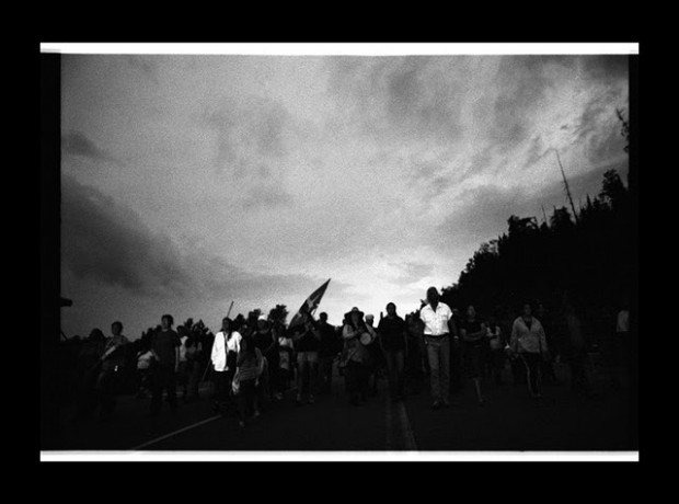 A protest by members of the Grassy Narrows First Nation. Photo by Jon Schledewitz.