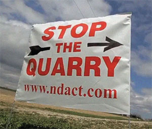 Sign for the North Dufferin Agricultural and Community Task Force protesting the Melancthon Quarry. Photo courtesy NDACT.