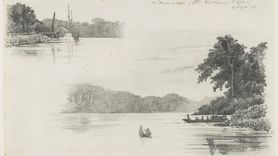 KITLV_-_36C196_-_Borret,_Arnoldus_-_Saramacca_river,_Surinam_sailing_ship_and_canoe._Plantation_Catharina_Sophia_-_Pencil_-_1878-09-09-p1arj9nmqae7k9jf1cr4j5510ce-min