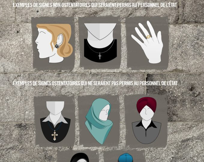 Local Input~  UNDATED -- RELIGIOUS SYMBOLS -- A page from a PDF document released by the Quebec provincial government on Tuesday, September 10, 2013 that shows acceptable symbols (top row) for provincial employees to wear, and non acceptable symbols for provincial employees to wear (bottom two rows). HANDOUT